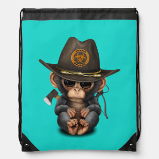 Baby Chimp Zombie Hunter Drawstring Bag