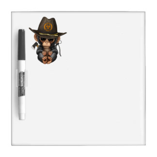 Baby Chimp Zombie Hunter Dry Erase Board