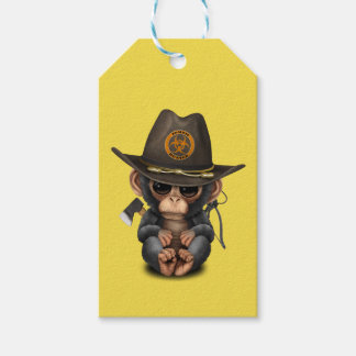 Baby Chimp Zombie Hunter Gift Tags