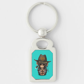 Baby Chimp Zombie Hunter Keychain