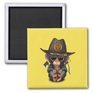 Baby Chimp Zombie Hunter Magnet