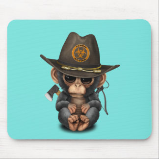 Baby Chimp Zombie Hunter Mouse Pad