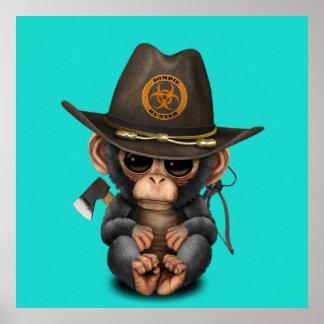 Baby Chimp Zombie Hunter Poster