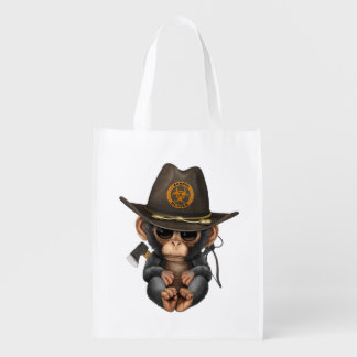 Baby Chimp Zombie Hunter Reusable Grocery Bag