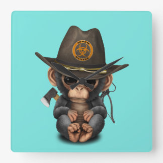 Baby Chimp Zombie Hunter Square Wall Clock