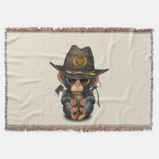 Baby Chimp Zombie Hunter Throw Blanket