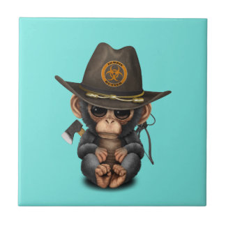 Baby Chimp Zombie Hunter Tile