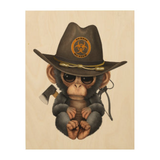 Baby Chimp Zombie Hunter Wood Print
