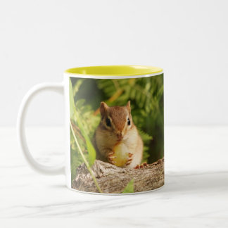 Baby Chipmunk with snack Two-Tone Coffee Mug