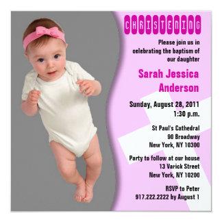 Baby Christening Invitation Girl Curve