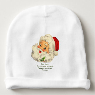 Baby Christmas Beanie or Hat w/ Santa Image & Note Baby Beanie