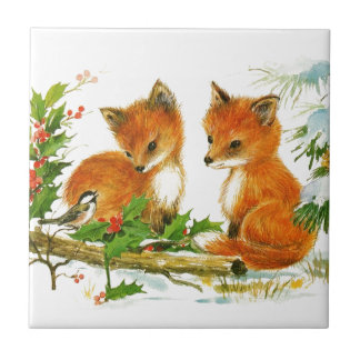 Baby Christmas Foxes And Bird With Holly Ceramic Tile