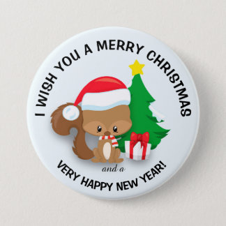 Baby Christmas Squirrel Santa Hat  Merry Christmas 3 Inch Round Button
