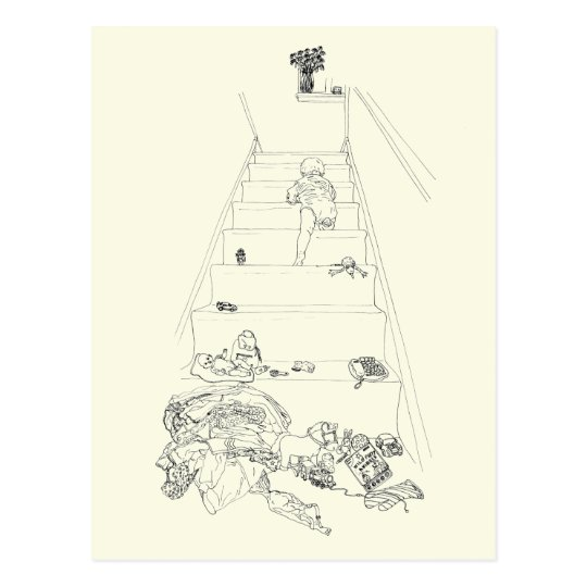 Baby Climbing the Stairs Drawing Funny Family Art Postcard