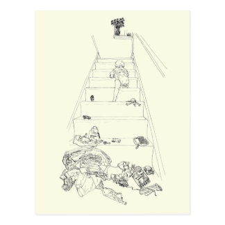 Baby climbing the stairs novelty art postcard