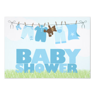 Baby Clothesline {blue} Boys Baby Shower Card