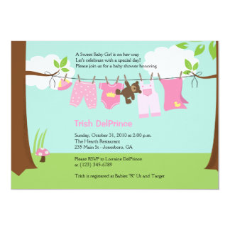 Baby Clothesline Pink Girl 5x7 Baby Shower Card