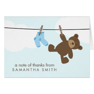 Baby Clothesline Thank You Notes {blue} Note Card
