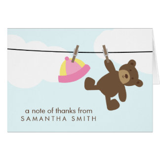 Baby Clothesline Thank You Notes {pink} Note Card