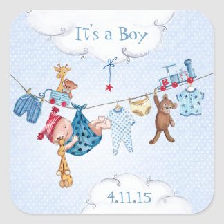 Baby Clothsline Boy | Baby Shower Stickers