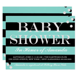BABY & CO Black And Teal Blue Shower Invitation