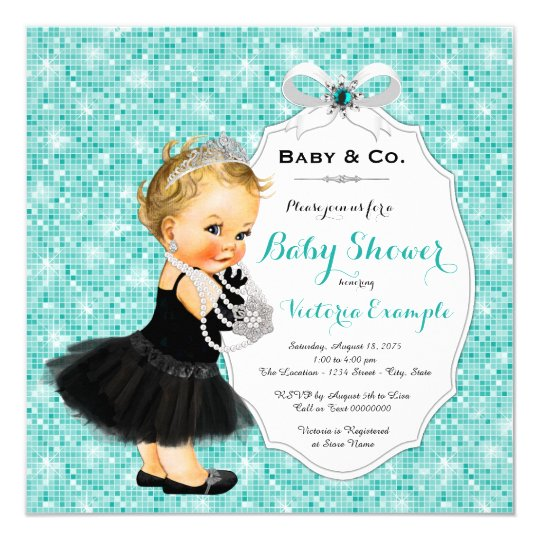 Baby & Co Black Teal Blue Baby Shower Card