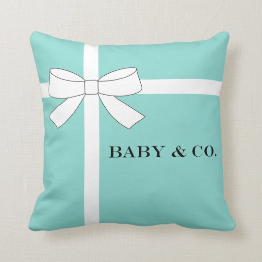 Baby Blue And Brown Throw Pillows : BABY & CO Blue and White Baby Throw Pillow Zazzle.ca