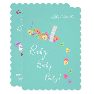 BABY & CO Candy Hearts Baby Shower Party Cards