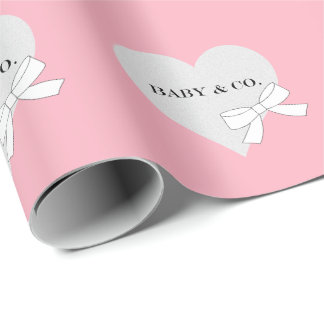 BABY & CO Pink And Silver Hearts Wrapping Paper