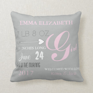 BABY & CO. Pink & Grey Nursery Baby Throw Pillow