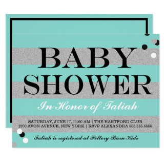 BABY & CO Silver & Aqua Baby Shower Invitation