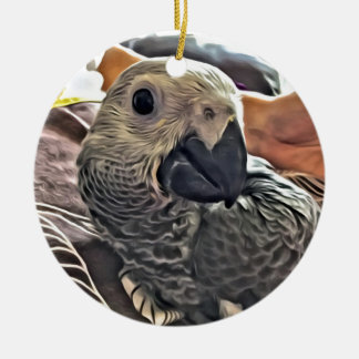 Baby Congo African Grey Parrot Round Ceramic Ornament