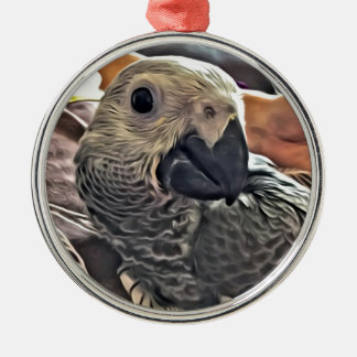 Baby Congo African Grey Parrot Silver-Colored Round Ornament