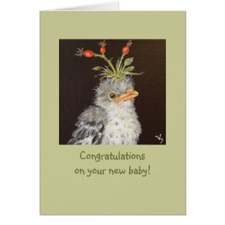 Baby congrats with baby mockingbird card
