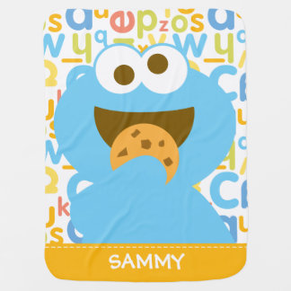Baby Cookie Monster Eating | Add Your Name Baby Blanket
