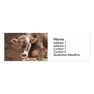 Baby Cow - Brown Baby Calf Close Up Face Business Card Template