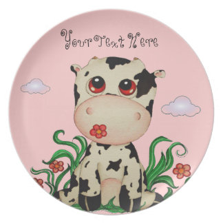 Baby Cow Customizable Plate