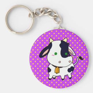 Baby Cow Basic Round Button Keychain