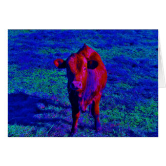 Baby Cow Purple grass Greeting Card