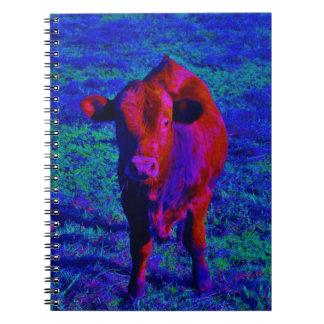 Baby Cow Purple grass Spiral Notebook