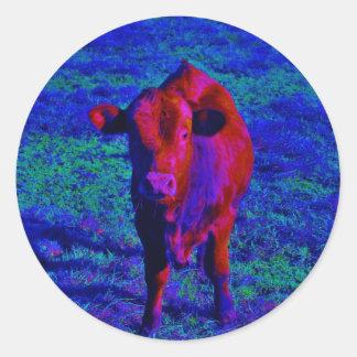 Baby Cow Purple grass Round Sticker