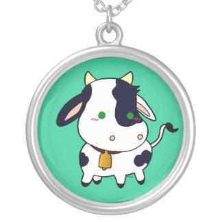 Baby cow round pendant necklace