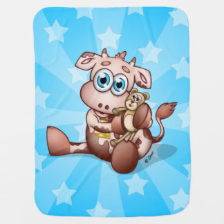 Baby Cow With Teddy Bear - Stars Blue blanket