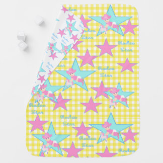 Baby Cowgirl Rodeo Star Yellow Check Swaddle Blankets