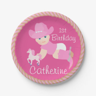 Baby Cowgirl With Pink Hat And Boots Birthday 7 Inch Paper Plate