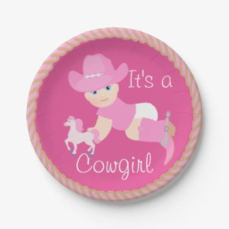 Baby Cowgirl With Pink Hat And Boots Party Plates 7 Inch Paper Plate
