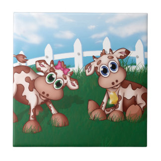 Baby Cows on a Hill Side With White Fence in Back Tile