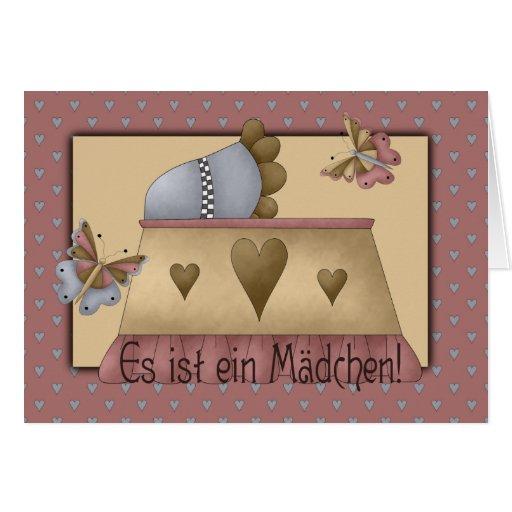 Baby cradle girl card