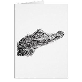 Baby Crocodile Ink Drawing Card