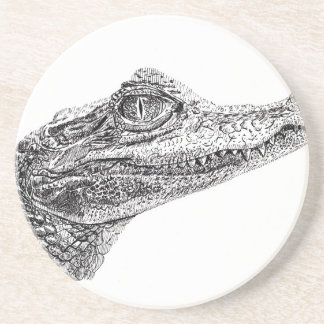 Baby Crocodile Ink Drawing Coaster